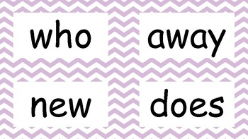 2nd Grade High Frequency Word Wall Words - Purple Chevron