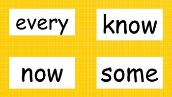 2nd Grade High Frequency Word Wall Words - Yellow