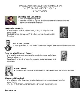 2nd grade history va sol 2 4 study guide famous americans by time rh teacherspayteachers com Elementary School Homepage GRE Study Guide