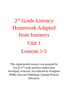 2nd Grade Homework Adapted from the Journey's Curriculum: Unit 1