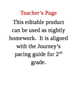 2nd Grade Homework Adapted from the Journey's Curriculum: Unit 2