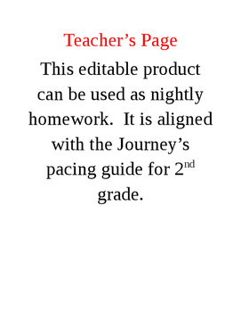 2nd Grade Homework Adapted from the Journey's Curriculum: Unit 3