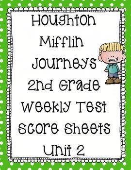 2nd Grade Houghton Mifflin Journeys Score Sheets - Unit 2