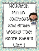 2nd Grade Houghton Mifflin Journeys Score Sheets for Weekly Tests Unit 1