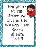 2nd Grade Houghton Mifflin Journeys Unit 5 Weekly Test Score Sheets