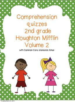 2nd Grade Houghton Mifflin Reading Comprehension Quizzes Volume 2