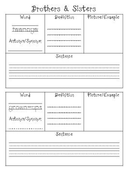2nd Grade Houghton Mifflin Vocabulary Journal - Theme 5
