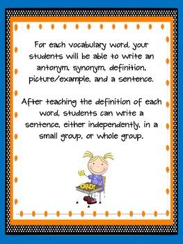 2nd Grade Houghton Mifflin Vocabulary Journal - Theme 5 in Spanish