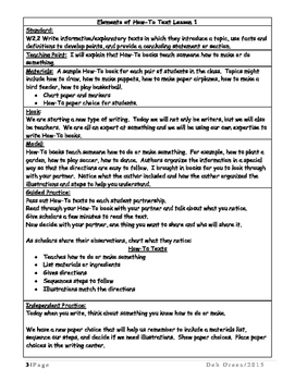 2nd Grade, How-To Writing Unit of Study, Journeys Lesson 9 Common Core Aligned