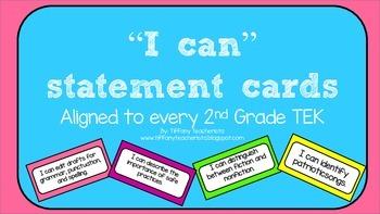"2nd Grade ""I Can"" Cards for TEKS"