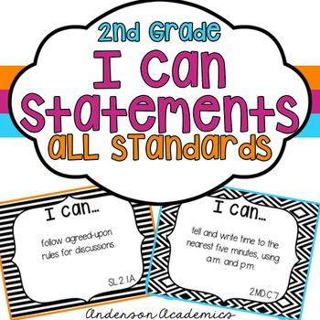 """2nd Grade """"I Can"""" Statements Bundle: All Standards - Black"""