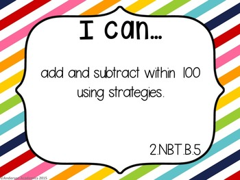 """2nd Grade """"I Can"""" Statements Bundle: All Standards - Rainbow"""