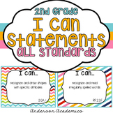"2nd Grade ""I Can"" Statements Bundle: All Standards - Rainbow"