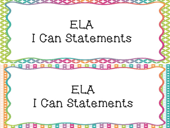 2nd Grade I Can Statements Common Core ELA- Bright Colors