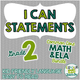 2nd Grade I Can Statements Common Core ELA & Math Bundle