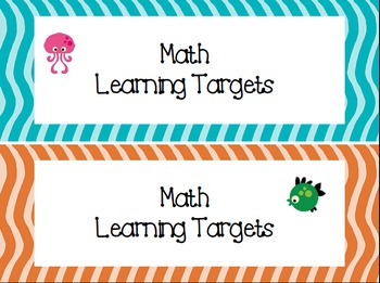 2nd Grade I Can Statements Common Core Math & ELA- Ocean Theme