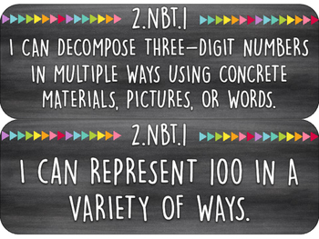2nd Grade I Can Statements   Math Wall Cards