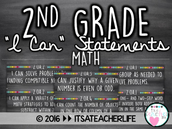 2nd Grade I Can Statements | Math Wall Cards
