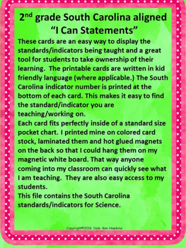 """2nd Grade """"I Can Statements"""" South Carolina Science Standards Aligned"""