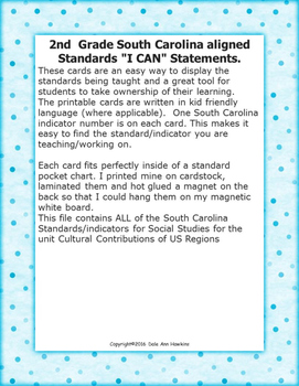 "2nd Grade ""I Can Statements"" SC SS Standards Cultural Contributions  US regions"