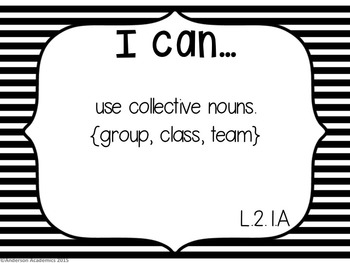 "2nd Grade ""I Can"" Statements: Writing, Speaking & Listening, Language - B&W"