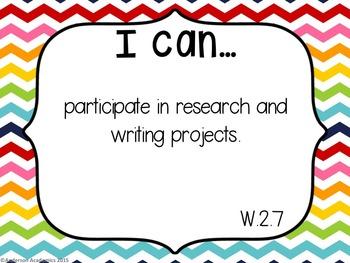 "2nd Grade ""I Can"" Statements: Writing, Speaking & Listening, Language - Rainbow"