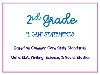 "2nd Grade ""I Can"" Statements based on CCSS *EDITABLE*"