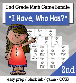 "2nd Grade ""I Have, Who Has"" Math Game Bundle"