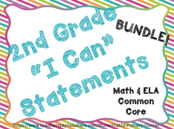 2nd Grade I can Statements ELA & Math Bundle- Bright Colors