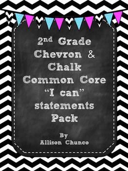 2nd Grade I can Statements Pack_Black & White Chevron & Chalk