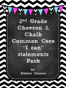 2nd Grade I can Statements Pack_Black & White Chevron & Chalk
