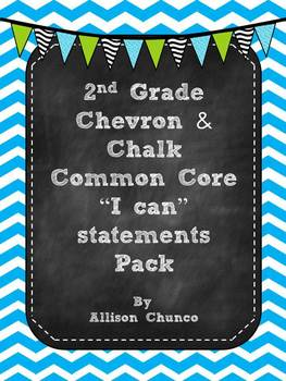 2nd Grade I can Statements Pack_Blue & White Chevron & Chalk