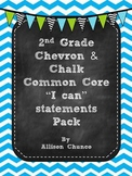 2nd Grade I can Statements Pack_Blue & White Chevron & Chalk