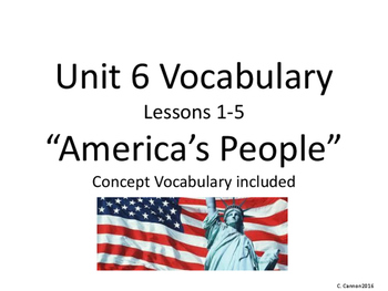 2nd Grade Imagine It! Unit 6 America's People Vocabulary Cards