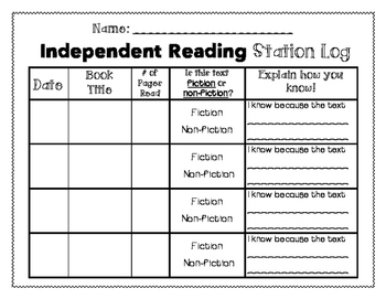 2nd Grade Independent Reading Logs
