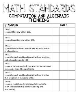 2nd Grade Indiana College & Career Ready Standards MATH TEACHERMATE PACK
