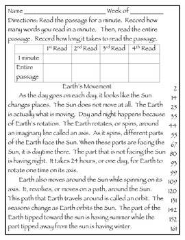 Fluency Passages 2nd Grade Informational Science Set 1- Weather, Solar System