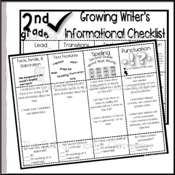 2nd Grade Informational Writing Checklist