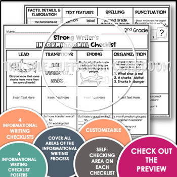 2nd Grade Informational Writing Checklist~ EDITABLE