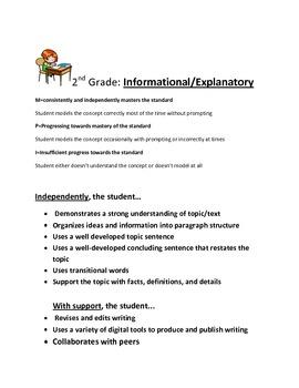 2nd Grade: Informational/Explanatory Writing Rubric: Common Core
