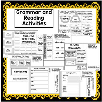 2nd Grade Interactive Notebook Week 23: Conclusions, Irregular Verbs, Suffixes