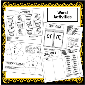 Long A and I, Characters, Antonyms Interactive Notebook