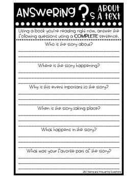 2nd Grade Interactive Reading Response Notebook Literary Standards