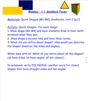 2nd Grade Investigations Unit 2- Shapes, Blocks and Symmetry (Week 1)