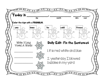 2nd Grade January Morning Work
