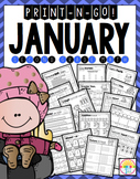 2nd Grade January (NO PREP) Print N' Go Math