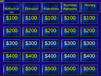 2nd Grade Jeopardy Math Review (Multiplication, Division, Fractions, Money)