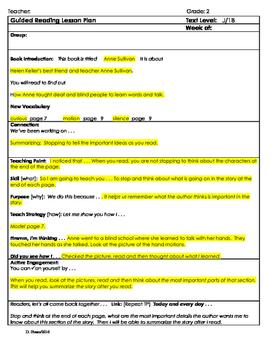 "2nd Grade Journey's Lesson 14, Guided Reading Plan ""Anne Sullivan"""
