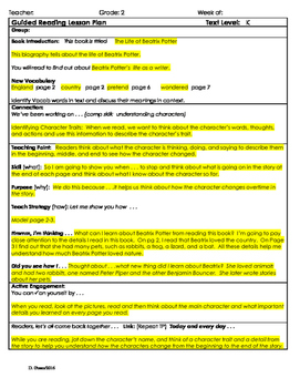 """2nd Grade Journey's Lesson 18 Guided Reading Plan """"The Life of Beatrix Potter"""""""