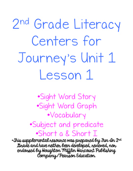 2nd Grade Journey's Unit 1 Lesson 1 Activities
